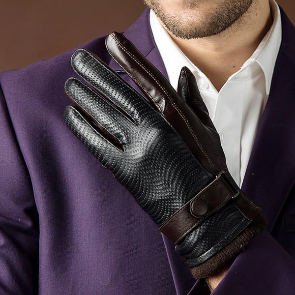 2017 Autumn Fashion New Men's Genuine Sheepskin Leather Gloves Goatskin Belt Button Black Plus Velvet Warm Gloves Driving