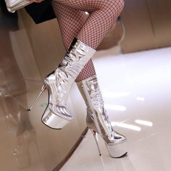 Legzen Super Stylish Women Half Boots Fashion Round Toe Metal Thin High Heels Mid-calf Boots Shoes Woman Gorgeous Silver Plus US Size 2-10.5
