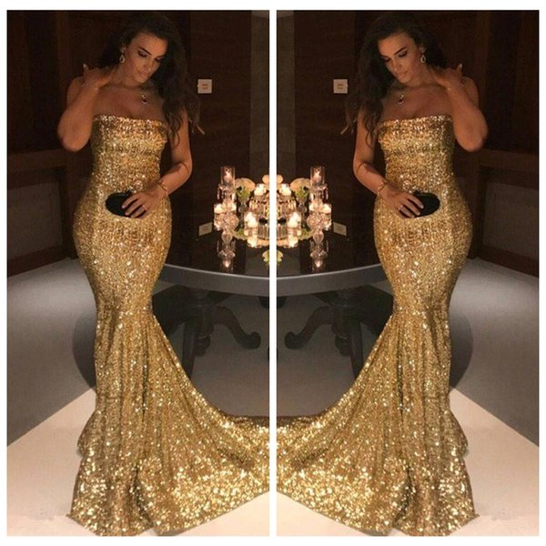 2019 Strapless Mermaid Slim Sequins Prom Dresses Bling Bling Custom Formal Custom Special Occasion Party Gowns Cheap Vestidos De Soiree