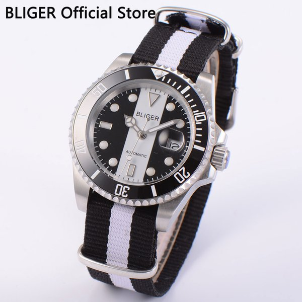 Luxury 40mm Bliger sapphire glass date window black white dial black ceramic bezel luminous automatic movement men's watch D4