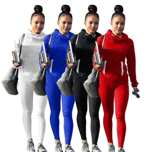 top popular Hoodie women two piece leggings pants tracksuit print letter tights long sleeve sweatshirt outfits lady fall winter clothes sportswear 2019