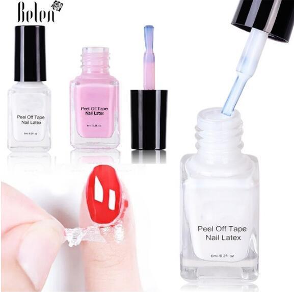 Cinta líquida despegable del esmalte de uñas Protección Dedo Crema para la piel Látex blanco Pegamento protegido Cinta limpia fácil Esmalte de uñas