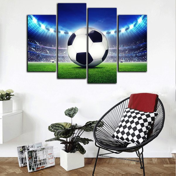 New Modern HD Print Abstract Poster 4 Panel Football Court Oil Painting On Canvas Home Wall Art Picture For Living Room Decor