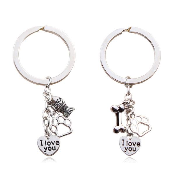 Originality Keychain Small Fish Bone Lovely Claws Letter Key Buckle Man Woman Lady Girls Love Shape Keyring Pendant Gifts Fashion 3 3yz bb