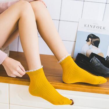 a47 Lace Lady Tube Socks Cotton Spring Pure Retro Women Socks Factory Wholesale