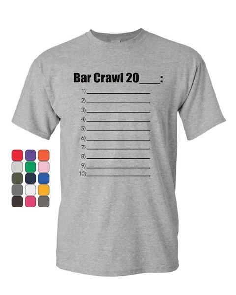 바 크롤링 20__ 체크리스트 T-Shirt Drinking College Beer Booze Mens Tee Shirt
