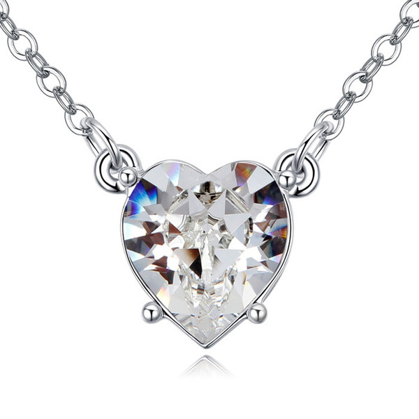Cute crystal heart pendant necklace with Crystals from Swarovski for women girl kids bridesmaid mother fashion jewelry