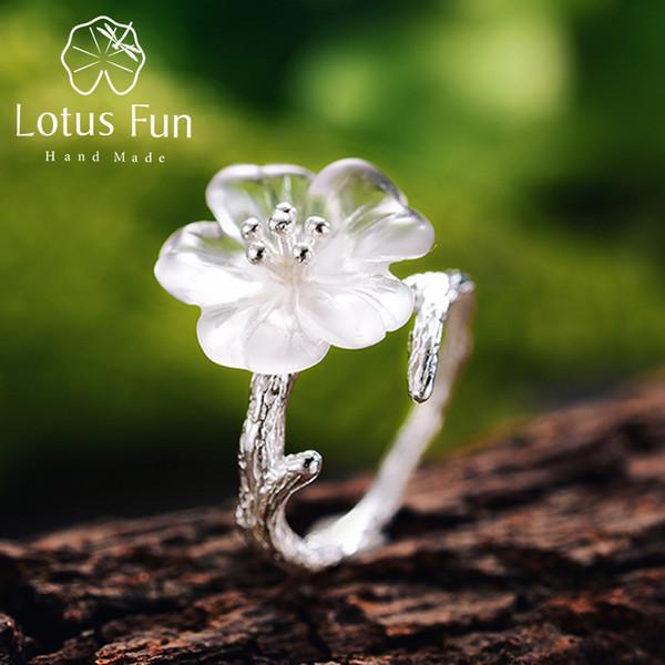 Lotus Fun Ladies Bague Fleur sous la Pluie Bague Ouverte S925 Argent Sterling Bague Faite /¨/¤ la Main pour Femme et Fille.