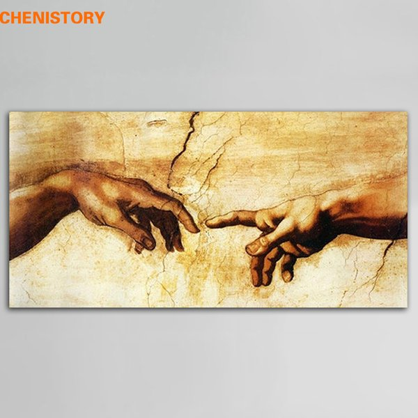 Unframed Cotton Creation Of Adam By Michelangelo Print Painting Canvas Famous Oil Painting For Living Room Wall Art Picture Y18102209