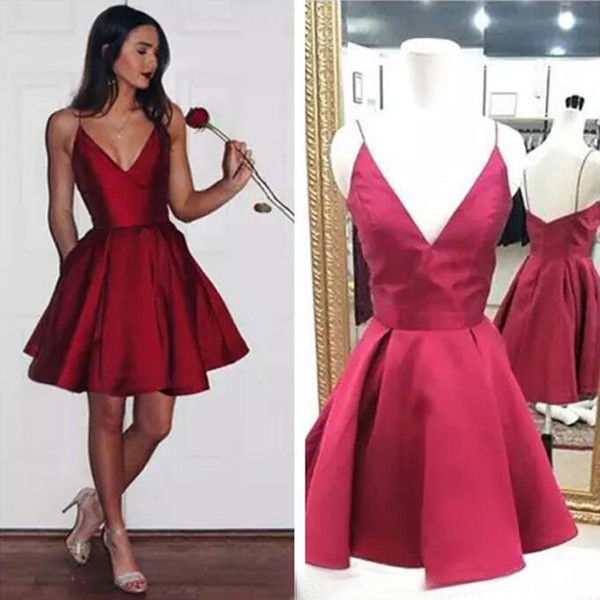 Cheap Red Short Homecoming Dresses Fine shoulder strap Modest Cocktail Party Gown Dark V Neck 8th grade prom dresses