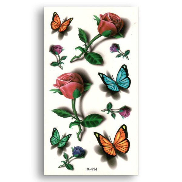 Red rose Fake temporary tattoo Water Transfer Colorful Butterfly Stickers Women Man beauty Sexy Body Art Live of Song X414