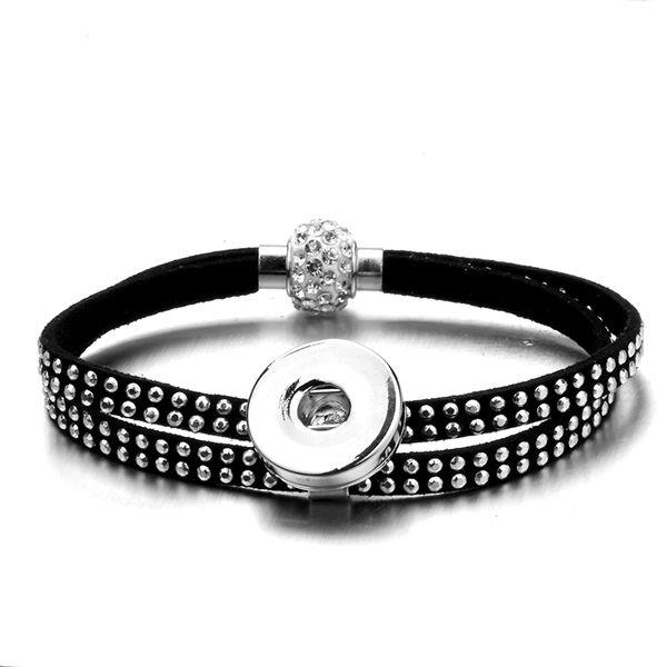 encanto Remache Imán de Cristal hebilla 18mm botón a presión de Metal pulsera relojes mujeres una dirección joyería DIY femenino TZSZ26