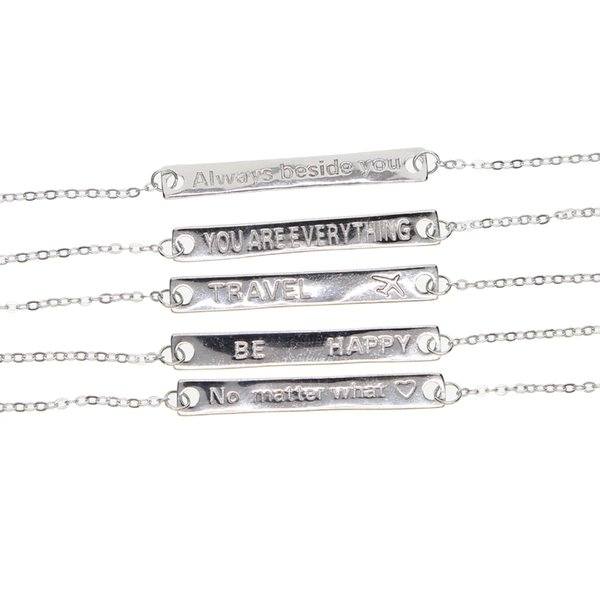 fashion engraved bar shape pendant necklace with letter stamp women wedding necklace for party gift