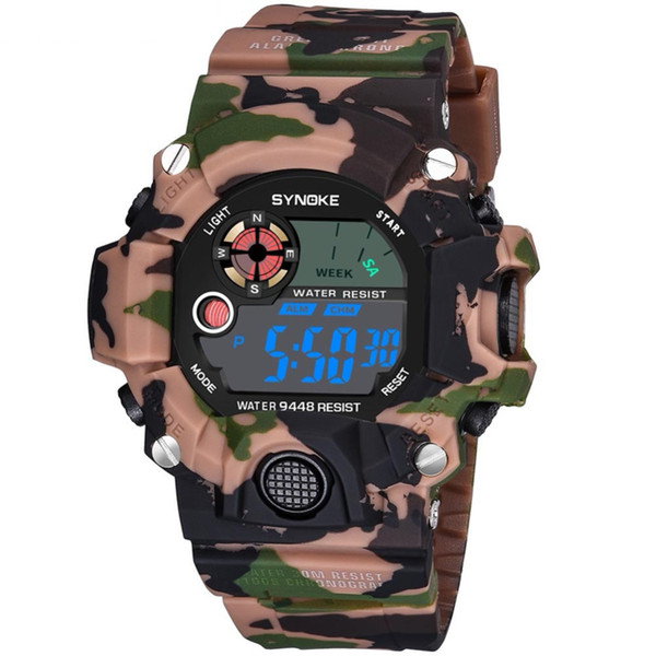 Men's Watches Digital Electronic Movement Outdoor Sport Camouflage 30 Meters Waterproof Chronograph Compass Wrist Watch