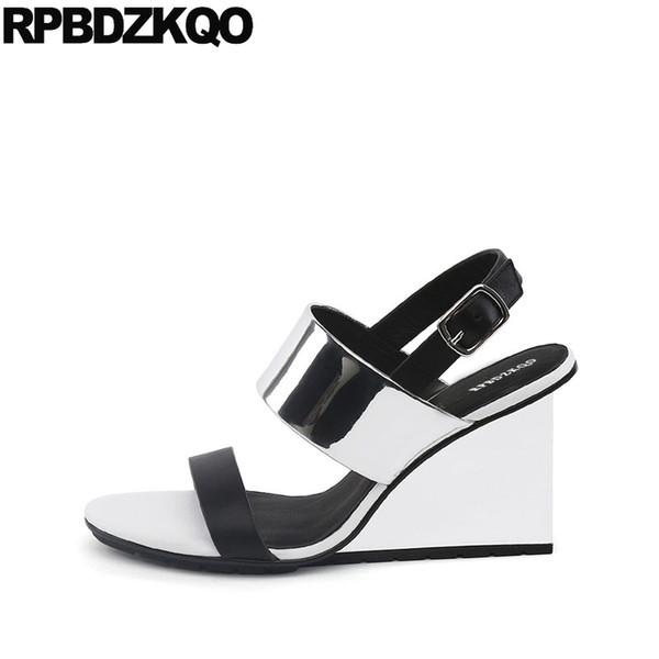 Summer Open Toe Strap Genuine Leather High Heels Silver Sandals Designer Shoes Women Luxury 2018 Slingback Pumps Ladies Wedge