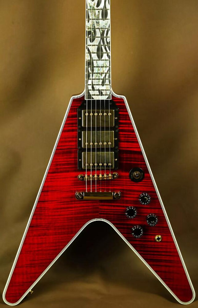 Super Cool Lanciafiamme Flying V Ultima Fire Tiger Custom Red Flame Top in acero Chitarra elettrica Intricate Mother Pearl Abalone Flame Inlay