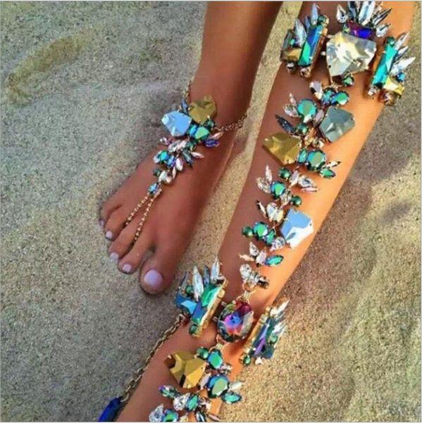 Funkelnder bunter luxuriöser Strand-Brautfuß-Knöchel-Armband-Kettenstrand-Ferien-reizvoller Bein-Kettenweiblicher Kristallfußkettchen-Fußschmucksachen