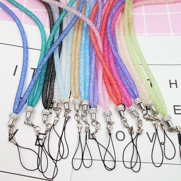Bling Diamond Crystal Phone Lanyard Straps for Cell Phone MP3 MP4 ID Card Holder Charm Long Neck telephone belt hang Rope chain Bracelet