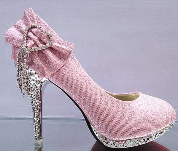 Oro blanco rojo ENVÍO GRATIS Mariposa zapatos de boda tacones de la novia diamante delgado cabeza redonda bar de cristal boca baja solo zapatos de mujer 226
