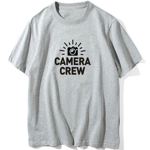 Crew t shirt Cool words Camera team work short sleeve gown Street leisure tees Unisex clothing Pure color cotton Tshirt