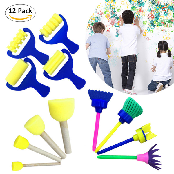 12pcs /set DIY Flower Graffiti Sponge Art Supplies Brushes Seal Painting Tools Creative Funny Drawing Toy for Children free shipping