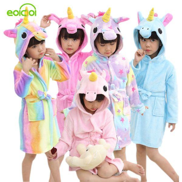 EOICIOI Kids Boys Girls Bathrobes Flannel Hooded Cartoon Pegasus Children Towel Robes Autumn Winter Baby Clothes Sleepwear Y18102908