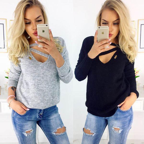 2018 Women Cotton V-Neck bandage Pullover Long Sleeve Plain Tshirt 3colors Women Clothes