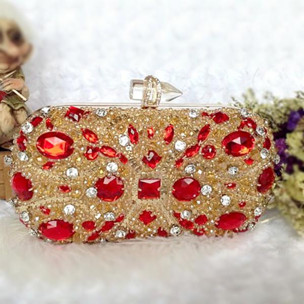 Women Crystal Handbags Clutch Bags Luxury Retro Evening Bag Red Wedding Bride Chain Purse Ladies Small Crossbody Shoulder Bags