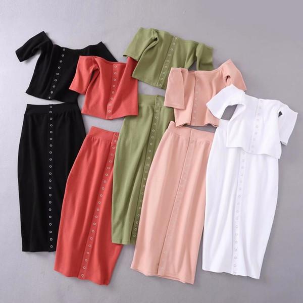 candd / Sólida botão frontal de malha 2 peça set mulheres terno bodycon colheita top top e saia set feminino na altura do joelho roupa duas peças