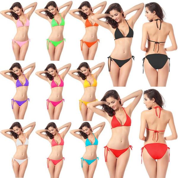 Women's Clothing Bikini Swimwear Solid & Ombre Fringe Strap Halter Padded Lady Swimming Swimsuit bathing Suit Top & Bottom 50pcs