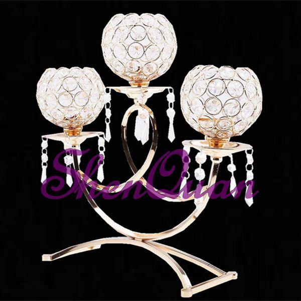 Sim Handmade e Material de Metal candelabros de cristal de casamento à venda, candelabros de vidro de cristal de 3 braços para casamento, peça central para casa