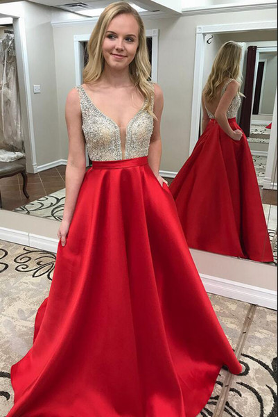 Sexy Deep V-Neck Backless A-line Celebrity Dresses 2018 Sparkly Crystal Beaded Prom Party Wear Pregnant Gowns Formal Evening Dress Plus Size