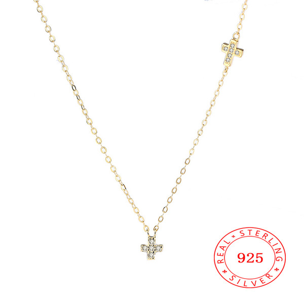 2018 Fashion New 925 sterling SILVER cz rhinestones gemstone Austrian CZ Crystal cross Necklace Beautiful jewelry
