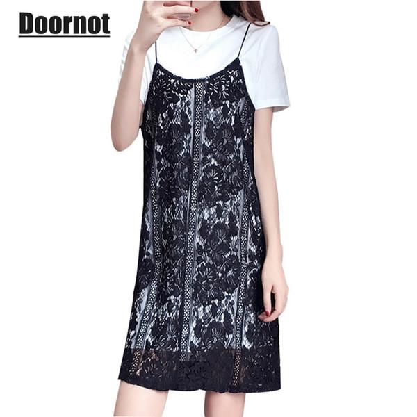 wholesale Summer Big Women`s Set Fashion 5XL 4XL White Long Tshirt & Black Lace Dress Oversize Two piece Feminine Vestidos
