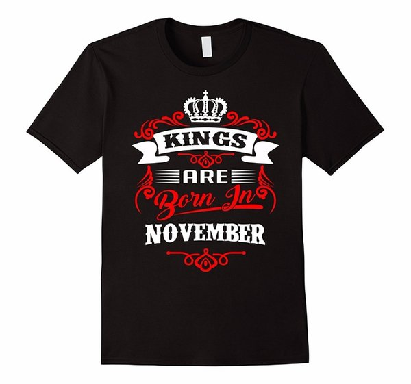Новый дизайн футболки печати мужская 100% хлопок круглый вырез с коротким рукавом Короли рождаются в ноябре тройник