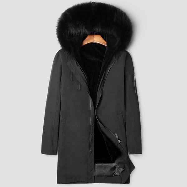 2018 Chaquetas de invierno Para hombre Chaquetas de piel Abrigos largos hacia abajo Cuello de piel natural Nieve Parka Grueso Cazadora caliente Abrigos de moda Tamaño grande
