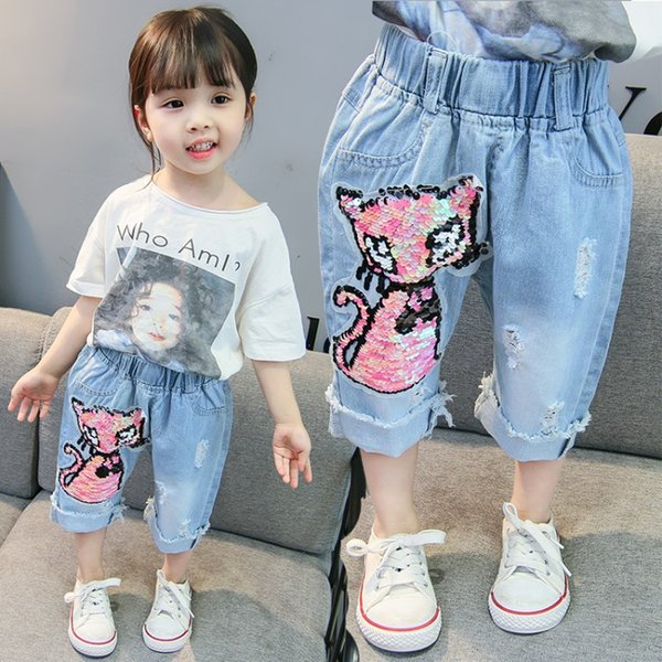 Color changing sequined girl broken ripped jeans pant kids denim hole cropped trousers 3/4 length trousers with reverse sequins