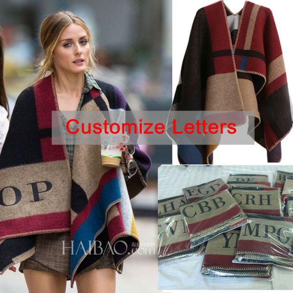 Oversized Sweater Cardigan 2015 Olivia Palermo Runway Catwalk Street Snap Knitted Cardigan Plaid Cape Poncho Shawl Women Lady S118