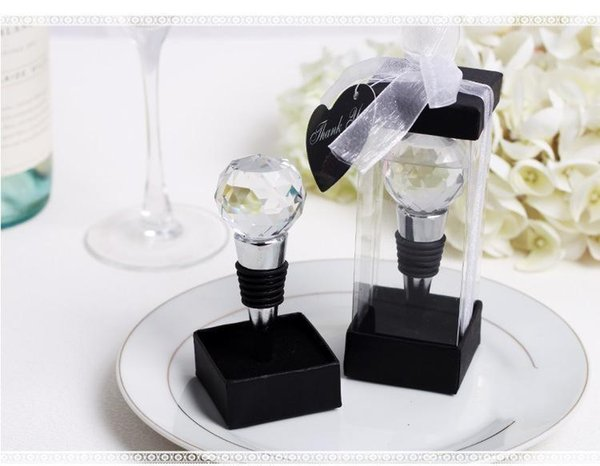 Wholesale New Wedding favor Wine cork wine stopper crystal ball metal wine bottle opener Free Shipping