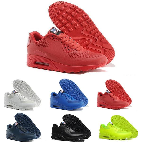 nike Chaussures İndirim Online Moda Bağımsızlık Günü Zapatillas ABD Bayrağı Sport Sneakers 40-46 Koşu Ayakkabıları 90 HYP PRM QS hommes