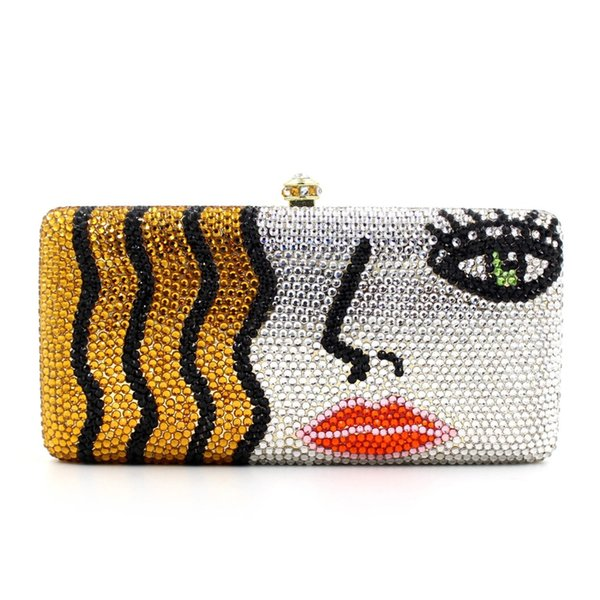 Fashionable Sexy Lady Face Rhinestone Crystal Evening Bags Unique Womens Evening Clutch Square Shape Beaded Clutch Purse Bag