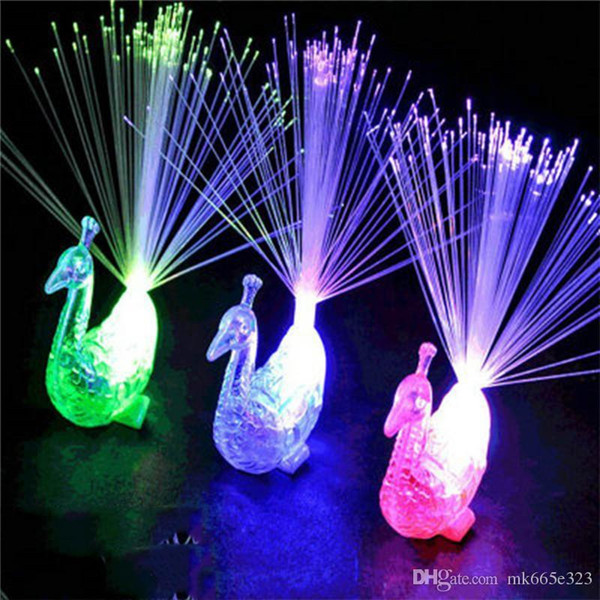 Creative Peacock LED Finger Ring Lights Beams Party Nightclub Color Rings Optical Fiber Lamp Kids Children Halloween Gifts
