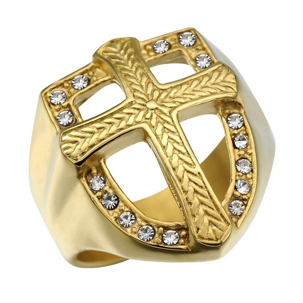 Fashion Cross Ring Micro Pave Crystal Chunky Square Mens Ring Iced Out Bling IP Gold Filled Thick Titanium Rings for Men Jewelry
