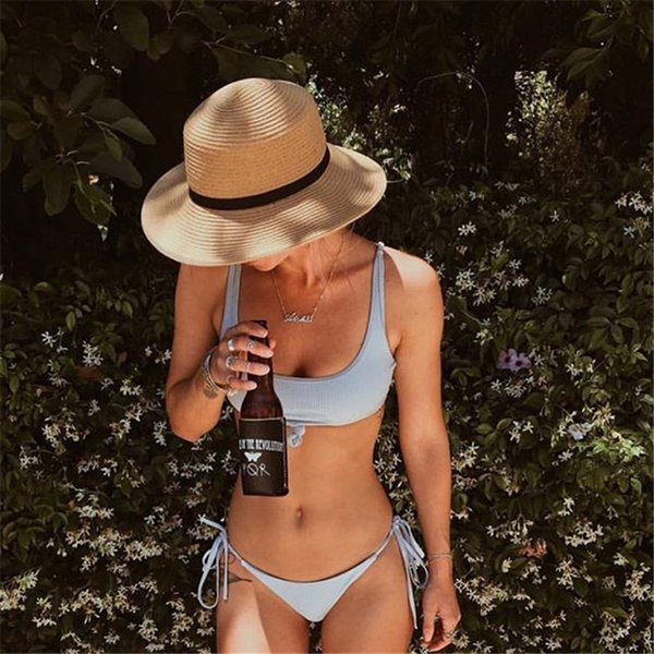 Summer Cloth 2019 Hot Bikini 7 Colors Swimwear Bikini To Tie a Sexy Vest On The Chest Blue Pink Black Swimsuit