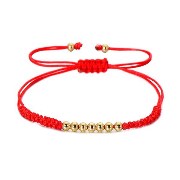 VEKNO 4mm Golden Beads Red String Bracelet Adjustable Braiding Macrame Lucky Bracelets For Women Men Children Handamde Jewelry