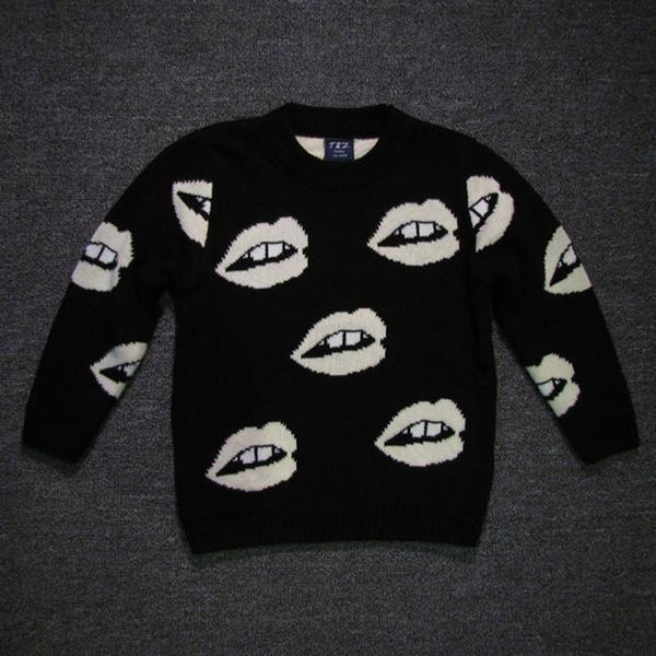 Suéter del bebé del invierno Muchachas de los muchachos Labios blancos negros de punto otoño Cardigan Trajes de bebé Ropa