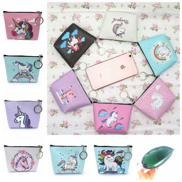 12styles Mini Unicorn cartoon Coin Purses girl Zipper Wallet unicorn Wallet Money Bag card Pocket unicorn Key Holder Bag FFA842 120pcs