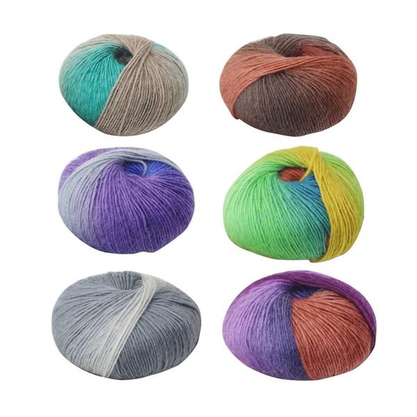 6 Colores 1 Rollo de Lana Suave de Ganchillo Hilo de Bebé Hilo de Lana de Punto de Bebé Multicolor Tejer a Mano para Tejer Bufanda Suéter Dropship