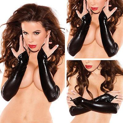 Sexy Womens Gloves Adult Wet Look Latex PVC Leather Fetish Costume Accessory