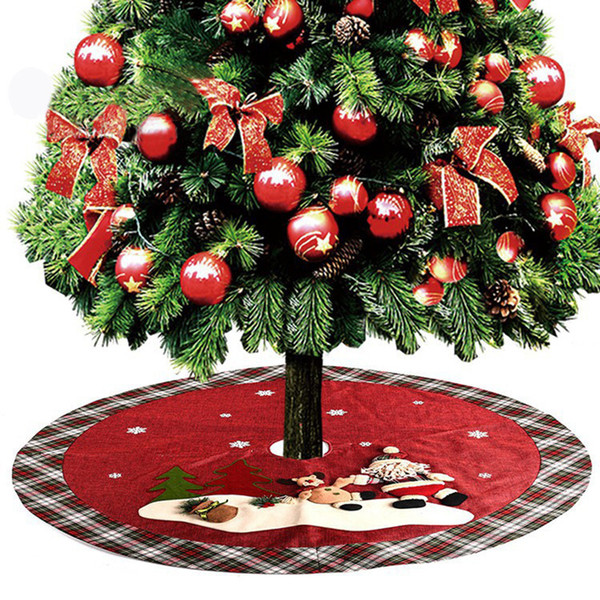 Christmas Tree Skirt Round Red Green Santa Snowman Linen Cloth Fabric Home Decoration Xmas Ornaments Gift for House Party Mat